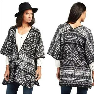Lucky Brand Tie Front Poncho Blanket Wrap Sweater